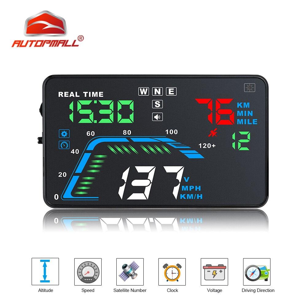 Q7 Auto Car HUD GPS Head Up Display HD 5 5 Speedometers Overspeed Multi Color Warning