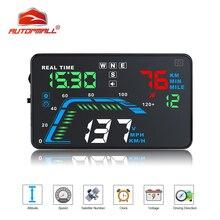 Q7 HUD GPS para coche automático con pantalla HD de 5,5 pulgadas, velocímetro de sobrevelocidad, proyector de parabrisas, tablero de advertencia multicolor