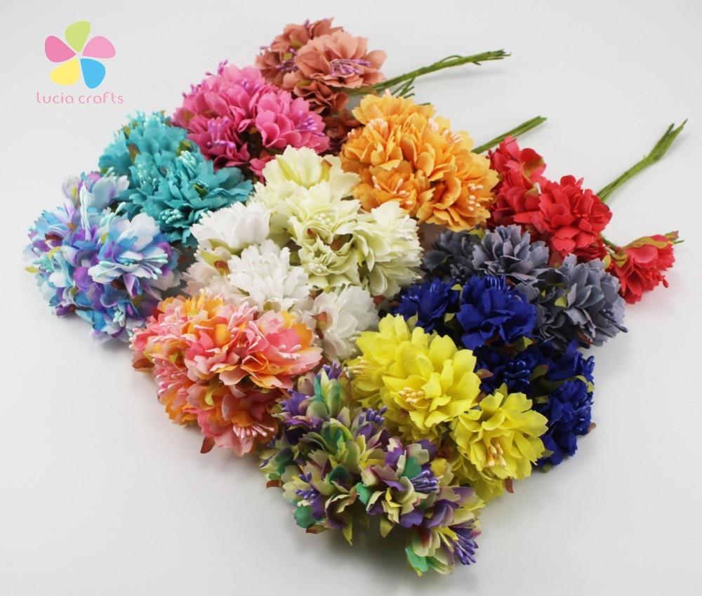 SALE! Lucia crafts Artificial Silk Flower Bouquet Wedding Party Decoration Floral Accessories 78pcs/lot,6pcs/bundle 027010010