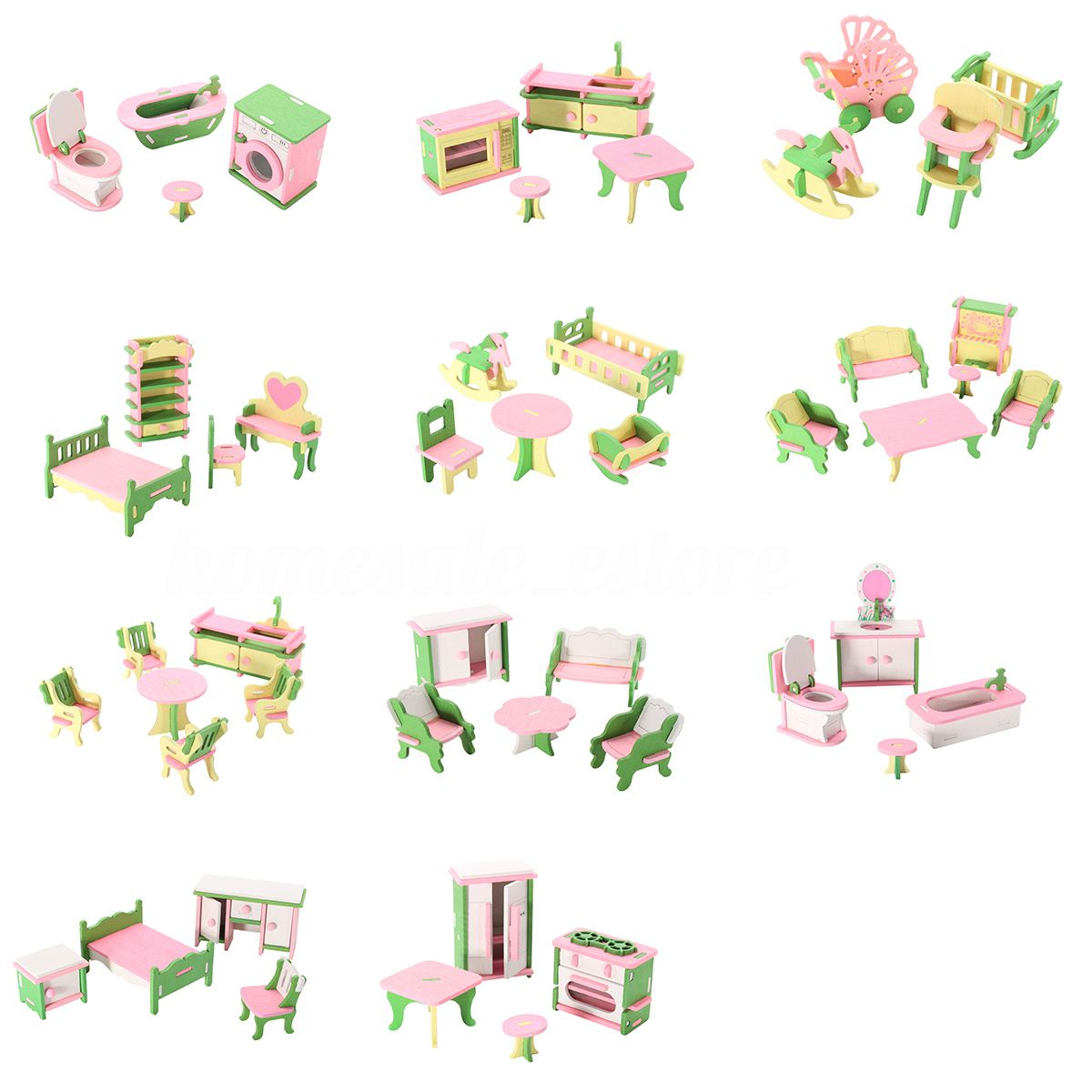 LCLL-49Pcs 11 Sets Baby Wooden Furniture Dolls House Miniature Child Play Toys Gifts