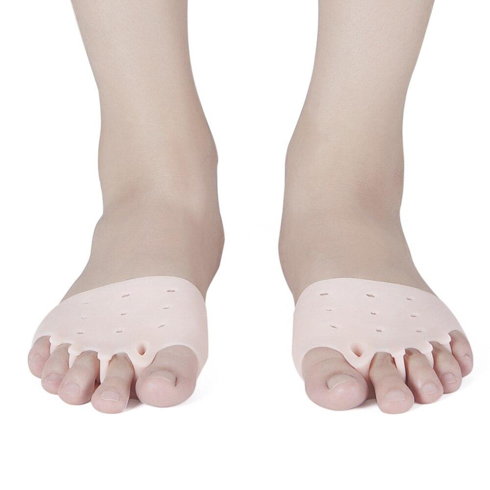 1 Pair Of Comfortable Five Holes Hallux Valgus Straightener Orthodontic Toe Braces Silicone Toe Foot Cover
