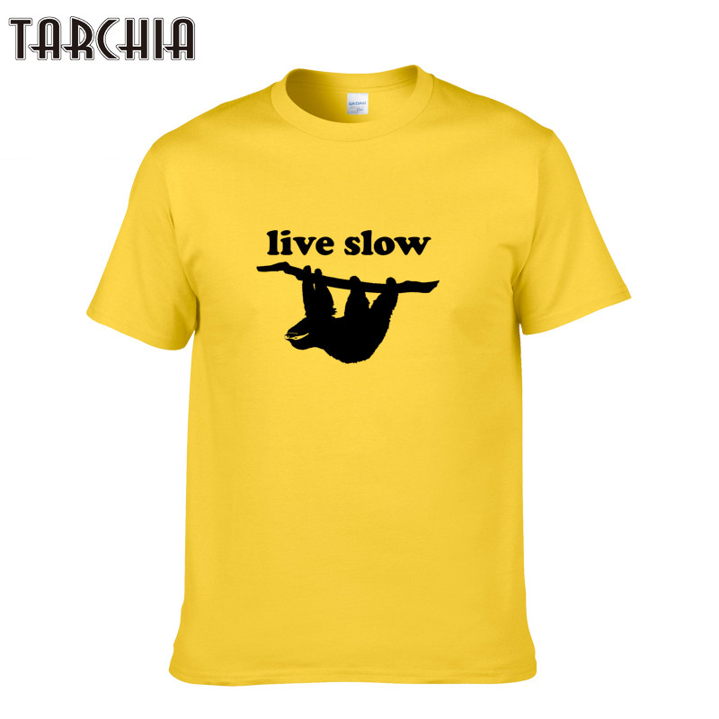 TARCHIA Summer Men T-shirt 100% Cotton Short Sleeve T Shirt Fashion LIVE SHOW Letter Print Men Tops XS-2XL Clothing Tshirt Homme
