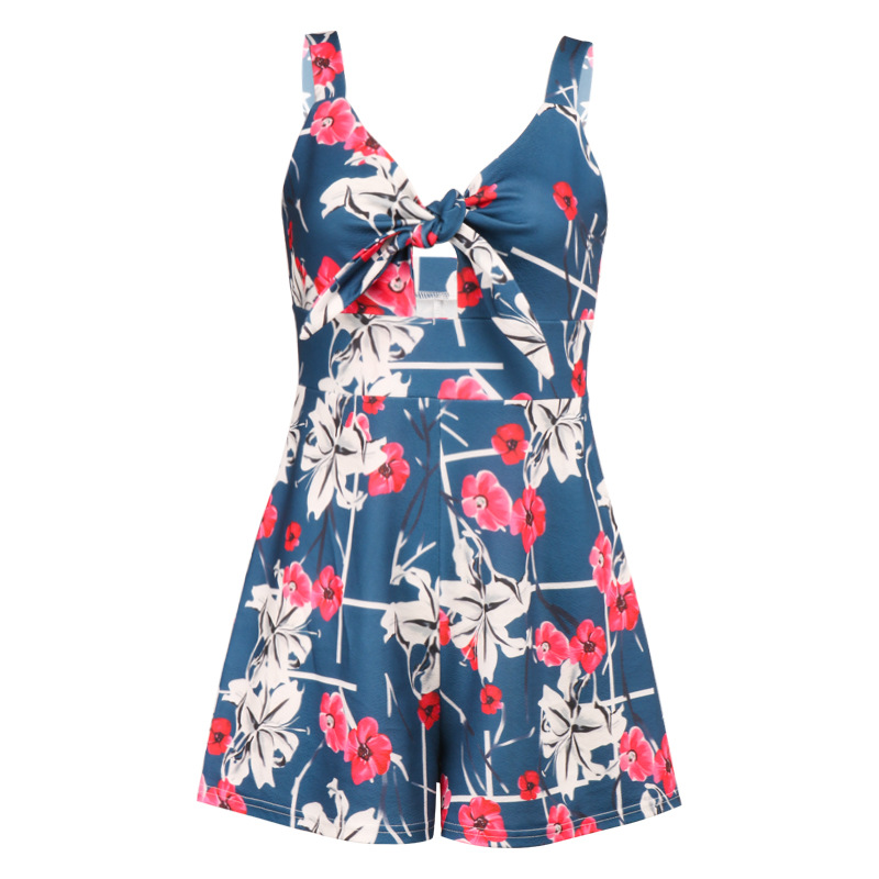 Women's Summer Print Jumpsuit Shorts Casual Loose Short Sleeve V-neck Beach Rompers Sleeveless Bodycon Sexy Party Playsuit 115
