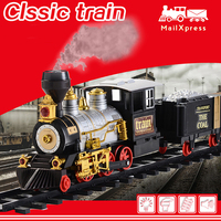 Electric Rechargeable Steam Smoke Train Music Light Track Car Toy Simulation Retro Steam Smoke Train Toys Boys Girls Gifts