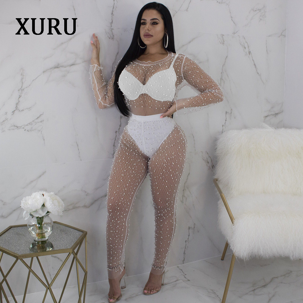 XURU Mesh Beading Sexy Jumpsuits Romper Women Long Sleeve See Through Bodycon Jumpsuits Night Club White Black Jumpsuit Overalls in Jumpsuits from Women 39 s Clothing