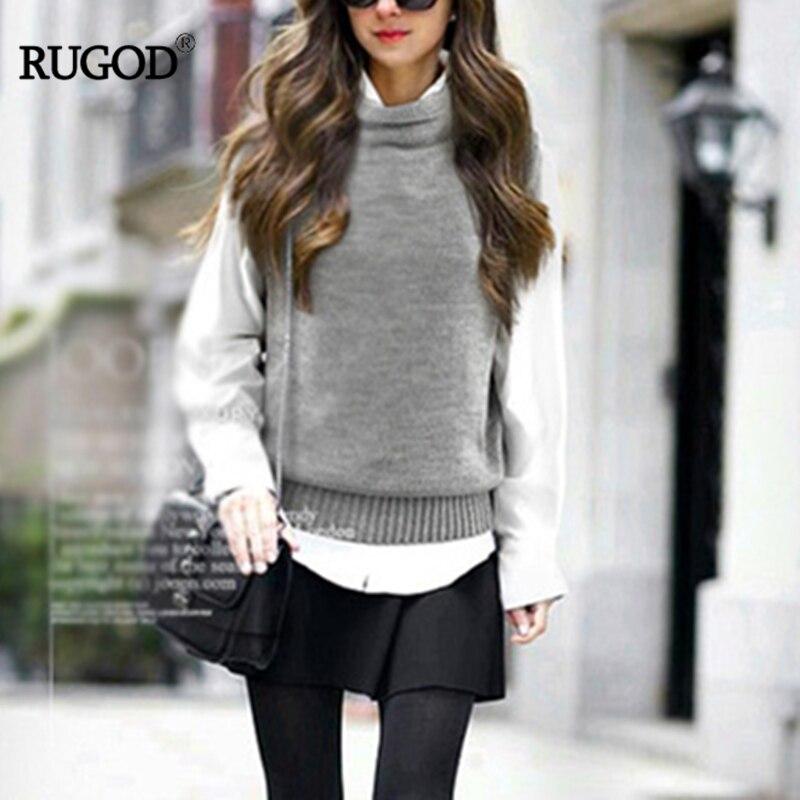 RUGOD 2018 Otoño Invierno cuello alto sin mangas suelto mujer chaleco Oficina señora sólido cómodo coreano tejido chalecos para mujer