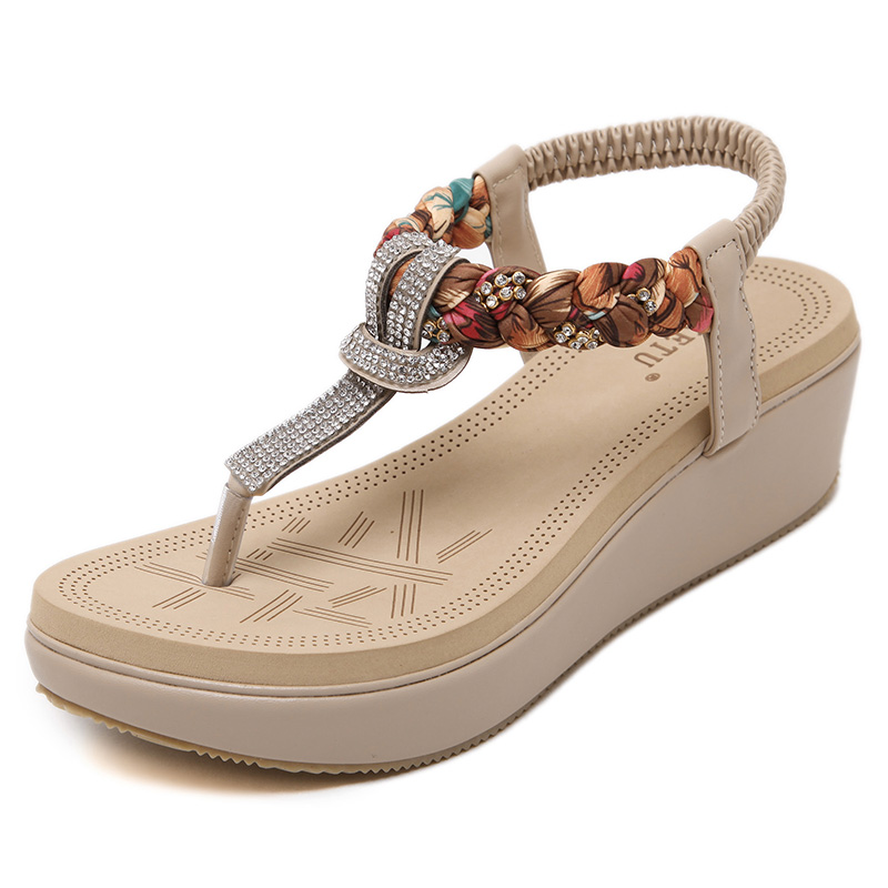 2016 New Bohemian National Women Shoes Summer Sandals Diamond Slope With Sandals Big Size Women's Sandals poadisfoo 2017 new ethnic women s shoes bohemian diamond slope with a large summer sandals zapatos mujer jxf 6662b