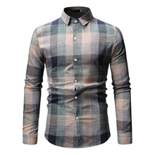 New Autumn Fashion Brand Men Clothes Slim Fit Long Sleeve Shirt Plaid Cotton Casual Social Plus Size M-XXXL