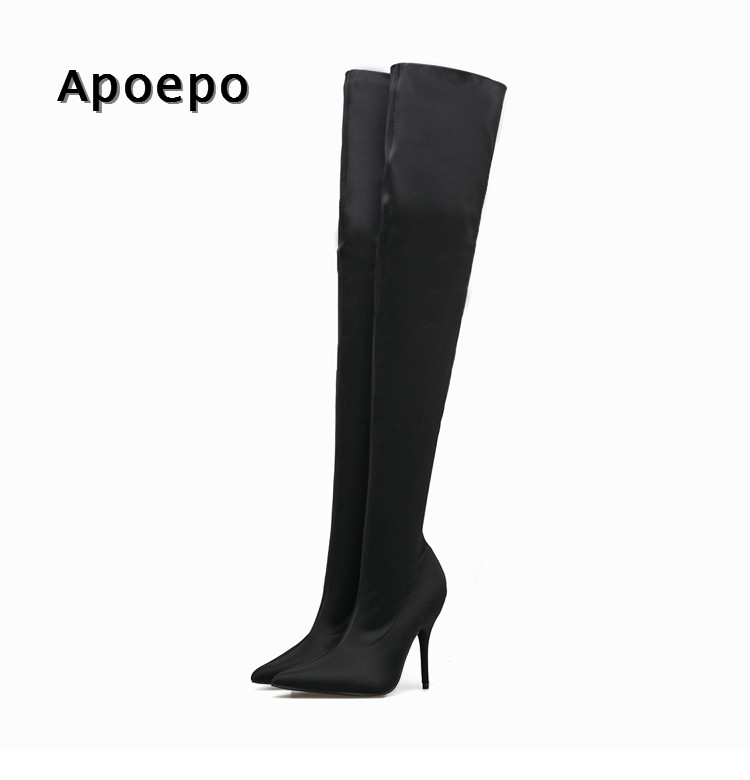 New Hot Selling Stretch Fabric Over the Knee boots 2018 Sexy Pointed toe high heel boots woman sexy thigh high boots sexy stretch fabric thigh high boots pointed toe over the knee high heel boots woman long boots stiletto heels boots beige black