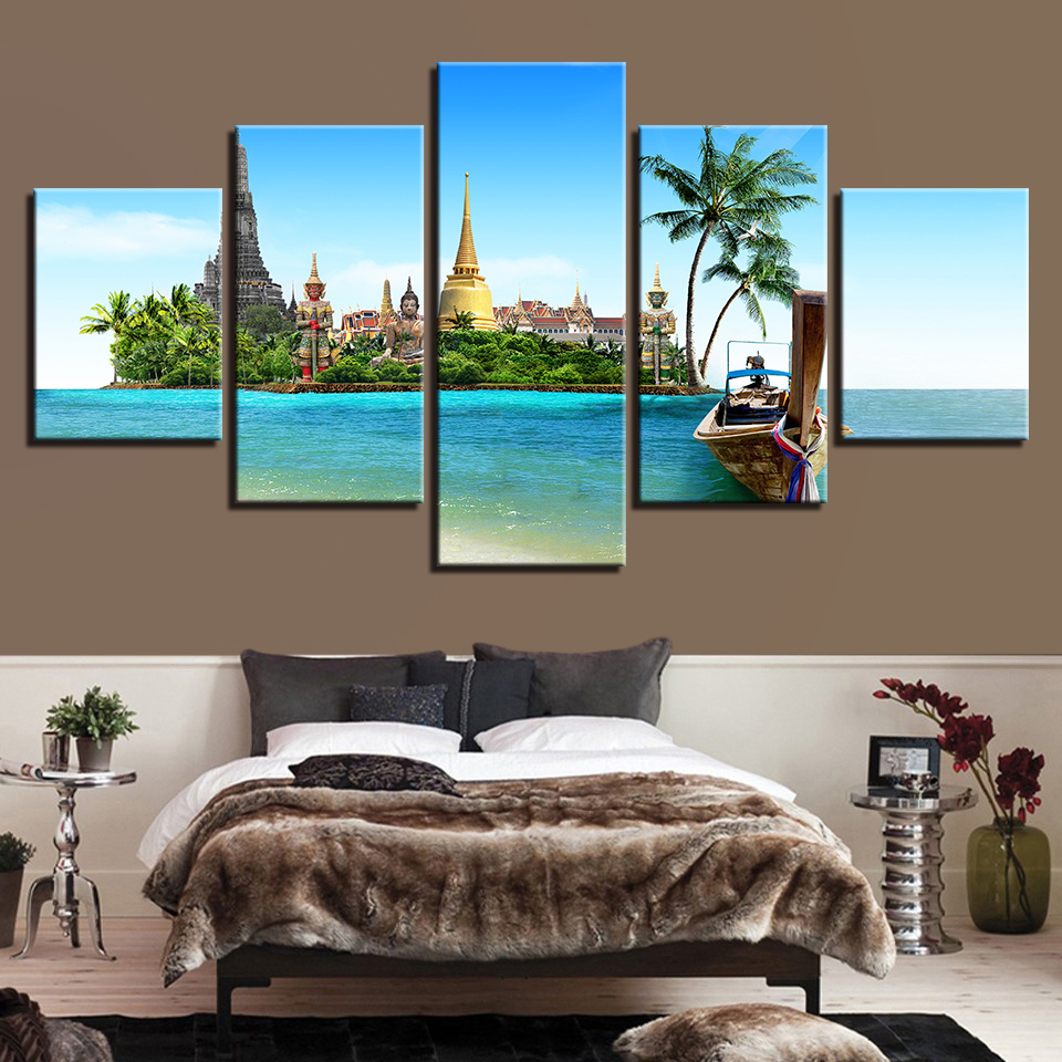 Painting Modern Wall Art Home Decor Canvas 5 Pieces Canvas Print Tropical Island Pictures Thailand Pattaya Buddha Poster Artwork