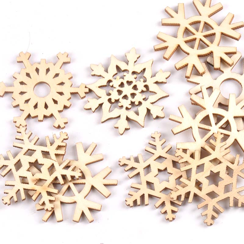20Pcs Mixed Snowflake Pattern Hollow Out Wood Slices DIY Craft Scrapbook  Arts Accessories For Home Decor Wooden Ornament M2182