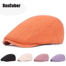 RoxCober мужские и женские хлопковые льняные береты sombrero hombre, одноцветная Кепка Гэтсби для путешествий, кепка плюща, плоская кепка для вождения, таксистка, газетная Кепка