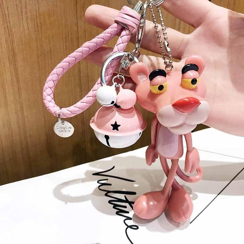 2019 Lovely Pink Panther Keychain Handwork Leather Rope Holder Metal Bell Leopard Keyring Handbag Kids Schoolbag Pendant