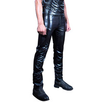 New Sale Mens Leather Pants Faux Leather Pu Material Black Wet Look Skinny Faux Leather Trousers Stage Performance Pants