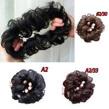 HiDoLA Hairpiece Scrunchie Elastic Wave Curly Synthetic Hairpieces Wrap for Hair Bun Chignon Haarteil Postiche headwear