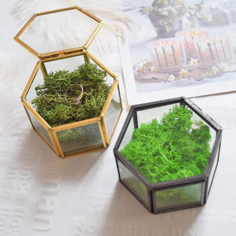 Retro Transparent Hexagon Jewelry Box Elegant Wedding Ring Box Ring Holder Marriage Ring Bearer Box (1)
