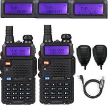 2x Baofeng UV-5R TP 136-174/400-520MHz FM 1/4/8Watt Two Way Ham Radio Walkie Talkie + Speaker Mic Programming Cable&CD
