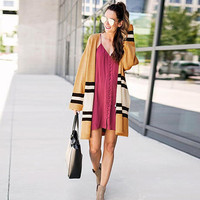 Autumn Winter New 2018 Women V neck Knit Long sleeved Cardigan Coat Contrast Color Wild Loose Long Sweater Women's Clothing