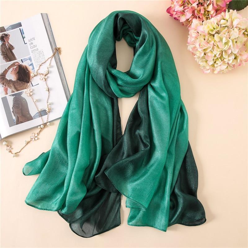 Fashion 2019 Luxury gradient   scarves   Soft linen silk plain shawls hijab spring green spring muslim headband   wrap     scarves