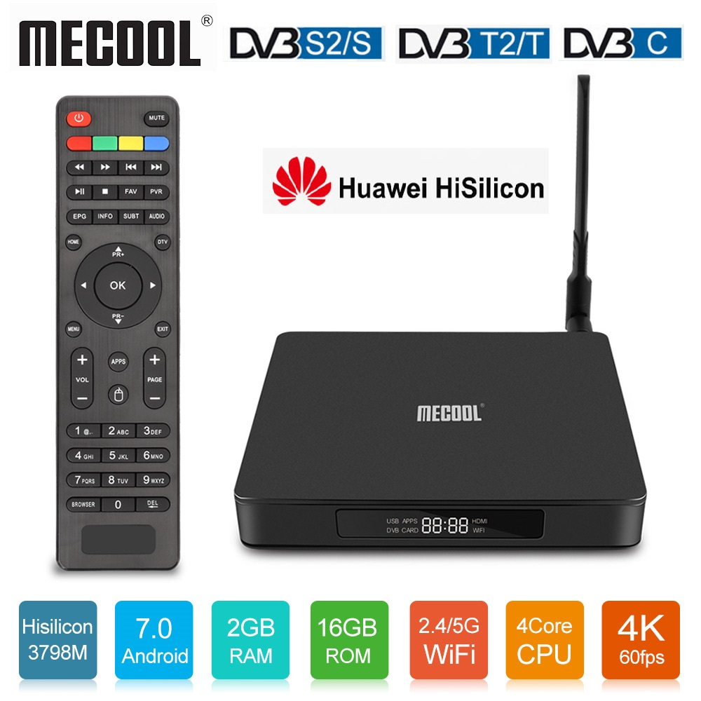 Mecool K6 DVB-S2 DVB-T2 Receptor Android TV Box Hisilicon Hi3798M 2GB 16GB 64bit 4K 2.4/5GHz Dual Wifi BT4.1 USB3.0 4K Ultra