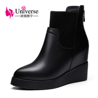 Universe Wedge Heel Genuine Leather Ankle Boots Warm Short Plush Insole Solid Rubber Black Winter Boots Women Shoes C198