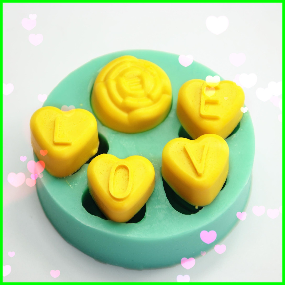 Love Shape Cake Decoration : L O V E letter &love Shape Silicone 3D Cake Decorating ...