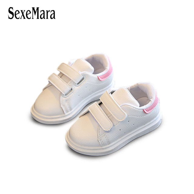 Fashion Children Sneakers White Casual Shoes Baby Kids 2018 Hook Loop Leather Patch Color Girls Shoes Pink Black Boy Shoe B05244