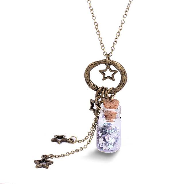 152c7e9f0 Glitter Stars Tiny Wishes Bottle Necklace Vintage Cute Glass Miniature  Bottle Charm Necklace Elegant Women Gift-in Pendant Necklaces from Jewelry  ...