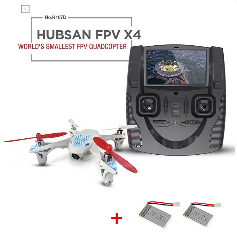 with two font b batteries b font Original Hubsan X4 H107D drone FPV 4CH 6