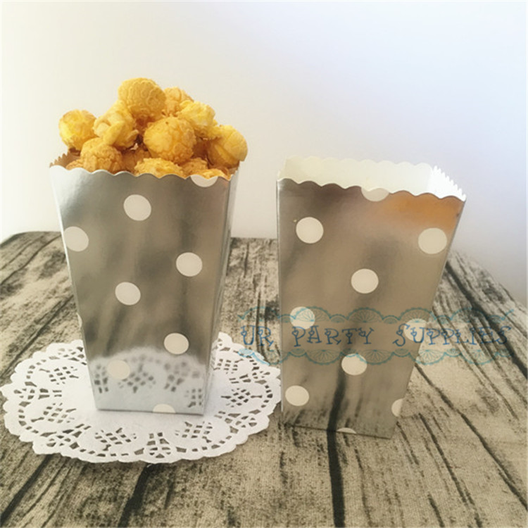 Free Ship 120pcs Silver Polka Dot Popcorn Boxes Scalloped Edge Treat Cartons Gourmet Popcorn Tubs Dessert Table Candy Supplies