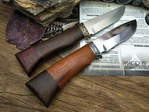 Image 3 - Couteau de chasse tactique rétro, petits couteaux fixes, tête en cuivre + manche en bois massif, couteau de survie, couteau de sauvetage portatif, de Camping