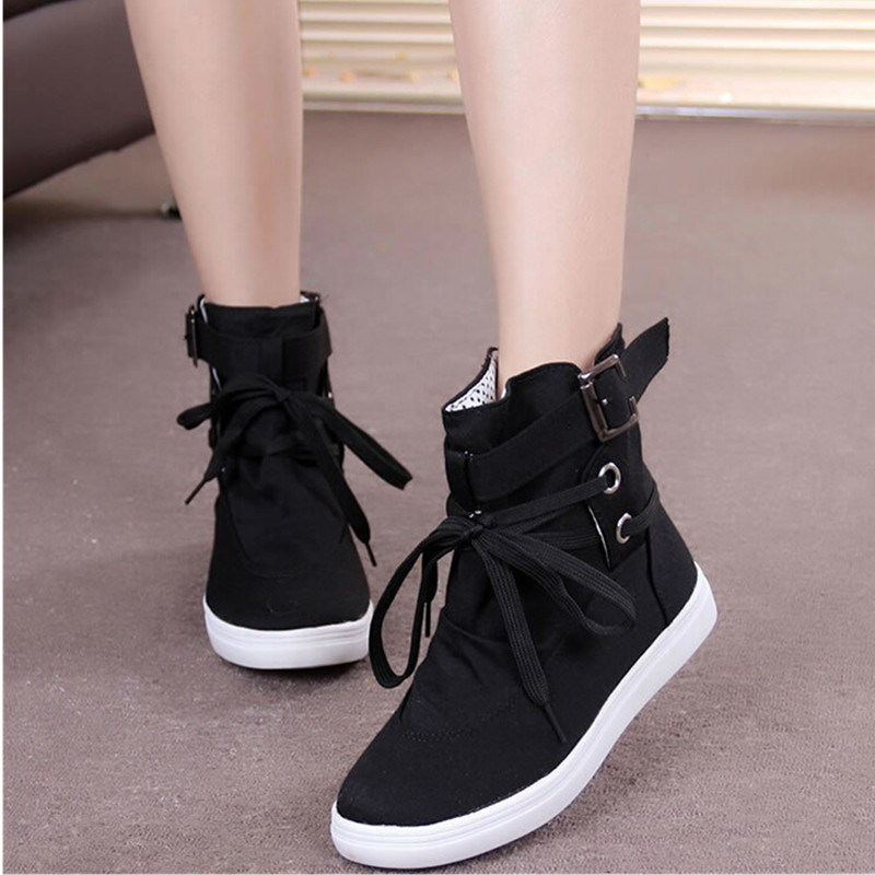 Promotion Women Sneakers Buckle Strap Flats Shoes Ladies Female Casual Lace  Up High Top Sports Canvas Breathable Walking Shoes 577fc08a7