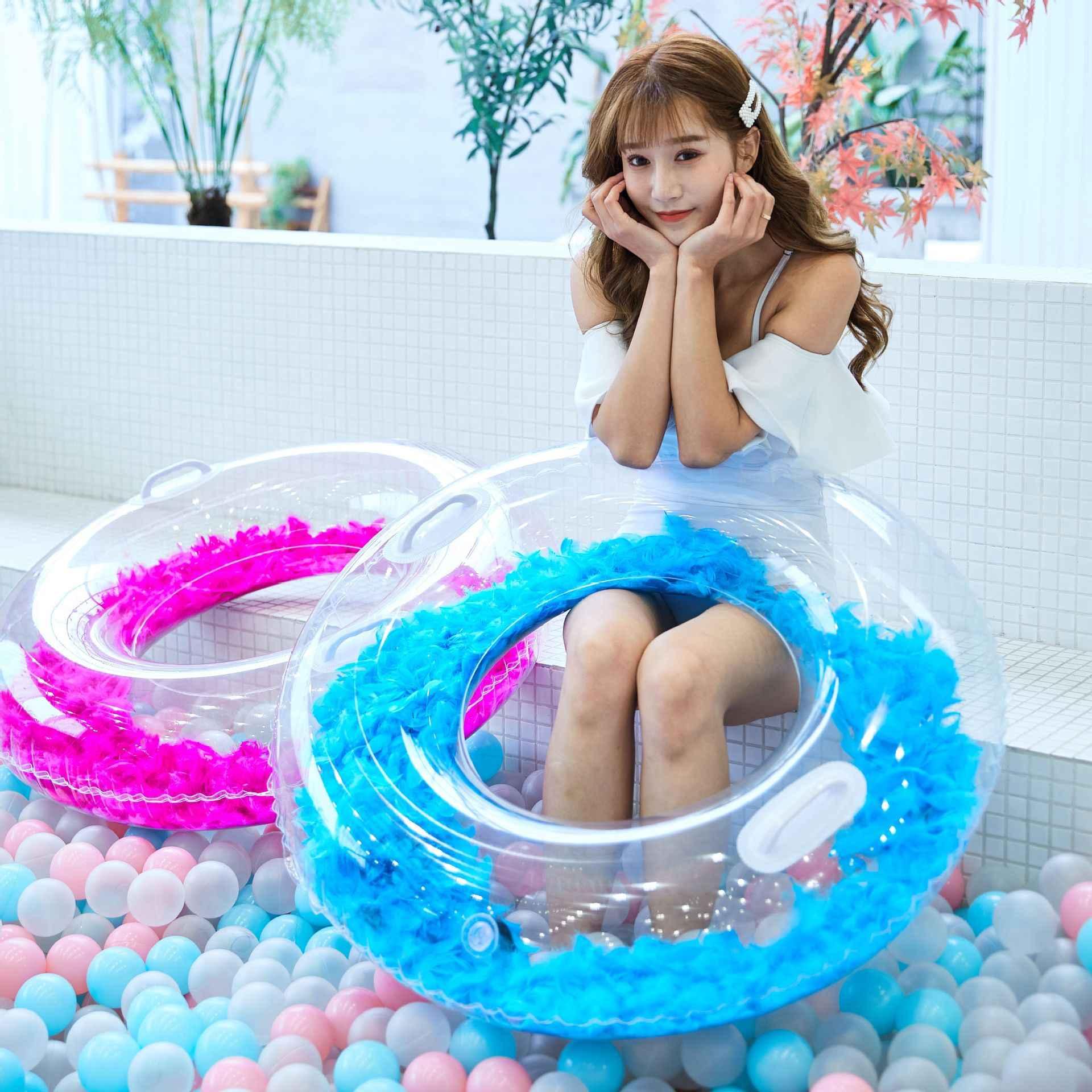 90cm Kalp Yuvarlak Pullu yüzme simidi kadın Şişme Daire yüzme Yetişkin Havuzu Şamandıra parti oyuncakları Plaj yüzme simidi Oyun Aracı