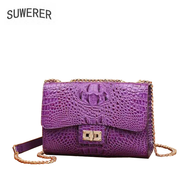 SUWERER 2018 New top cowhide women Genuine Leather bag fashion Luxury Crocodile pattern crossbody bags for women Chain small bag fashion crossbody bags for women chain top quality cow leather women bag crocodile pattern clutch evening bag bolsa feminina