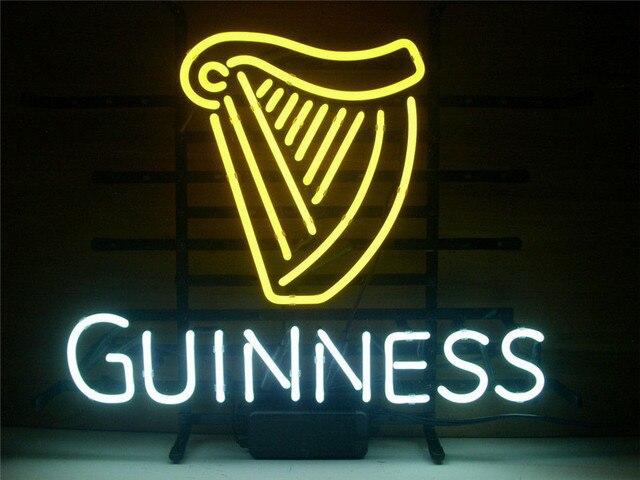"""NEON ZEICHEN GUINNESS IRISH LAGER ALE HARFE Schild REAL GLAS BIER BAR PUB display weihnachten Licht Zeichen 17*14"""""""