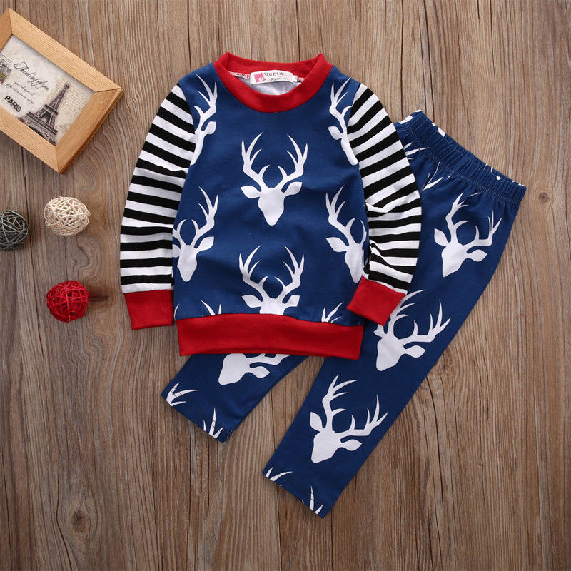 Newborn Baby Girl Boy Clothes Deer Tops T-shirt+Pants Trousers 2pcs Outfits Set
