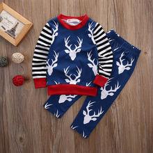 Newborn Baby Girl Boy Clothes Deer Tops T-shirt+Pants Trousers 2pcs Outfits Set