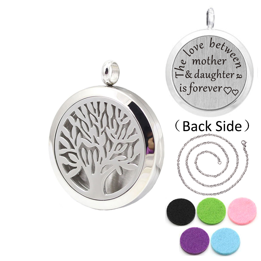 With chain and 5 pads 30mm Stainless Steel Tree of life Perfume Locket Aromatherapy Essential Oil Diffuser Pendant Necklace 30mm yl logo magnet 316 stainless steel car aromatherapy locket free pads essential oil car perfume lockets drop shipping