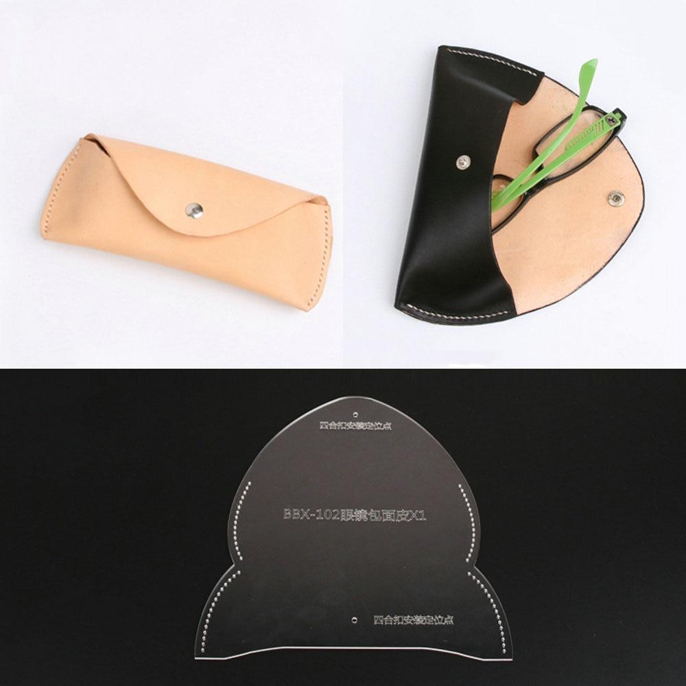 1pc DIY Leathercraft Sunglasses Pouch Bag Glasses Case Acrylic Stencil Template