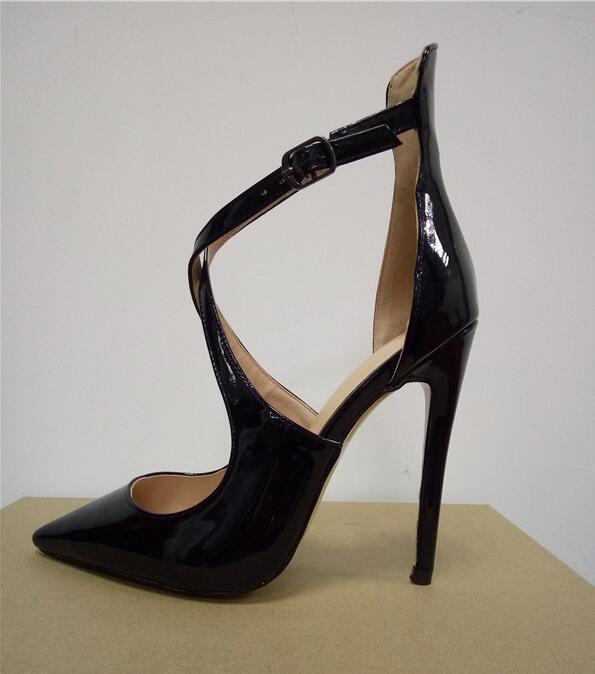 En Pointu Rouge Bout Cuir Club À Lacets Croix Chaussures C63 Pompes Femmes Talons Sexy Verni Noir OxXfSwqR5I