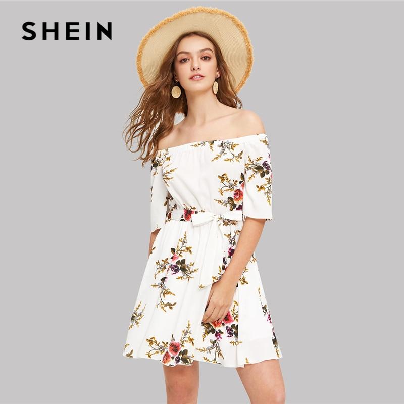 SHEIN Boho/белое короткое платье с открытыми плечами и цветочным принтом, с поясом, уличная одежда с коротким рукавом, а-силуэт, приталенное и рас...