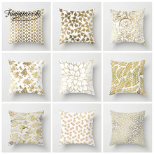 цены на Fuwatacchi Geometric Golden Cushion Cover Leaf  Pineapple Fish Pillow Cover Decorative Sofa Soft Throw Pillowcase  в интернет-магазинах