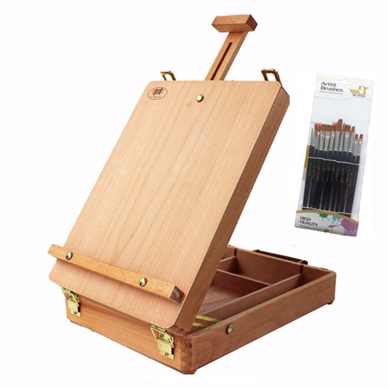 Wood Portfolio easel portable easel oil painting and sketch painting professional art supplies complimentary 12 brush kitmmm559unv55400 value kit post it easel pads self stick easel pads mmm559 and universal economy woodcase pencil unv55400