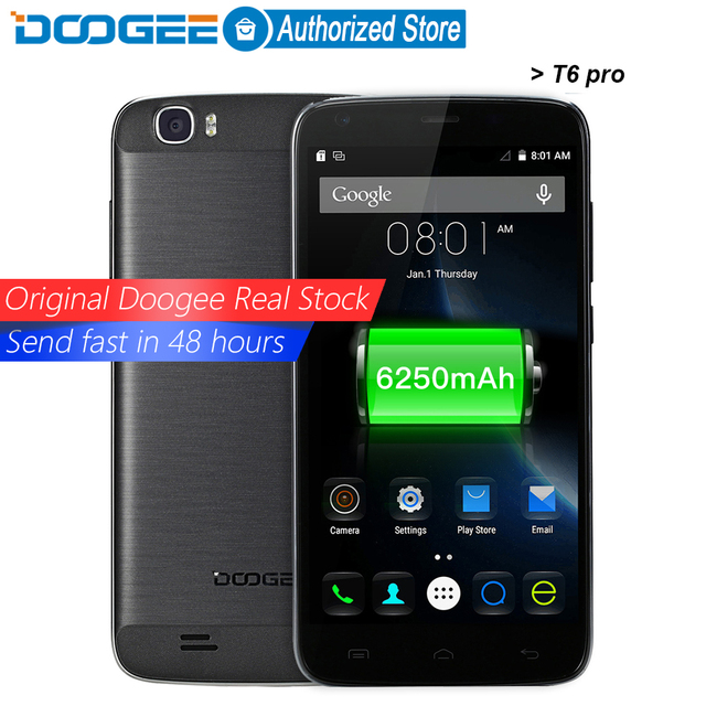 DOOGEE T6 pro mobile phones 5.5Inch HD 3GB RAM+32GB ROM Android 6.0 Dual SIM MTK6753 Octa Core 13.0MP 6250mAH WCDMA LTE WIFI GSM