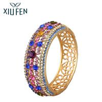 XIUFEN Elegant Women Fashion Hollow Shimmer Rhinestone Hot Selling Bracelet Vintage Elegant Wide Type Bracelet For