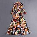 Elegantes vestidos de las mujeres 2017 delgado resorte de la manera de impresión largo manga de la linterna de la novedad high street dress