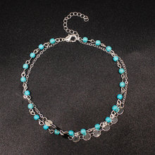 Simple Retro Summer Beads Stone Beach Anklets Sequins Double Layer Footchain Anklet Bracelet for Women K092 retro style turquoise beads cut out carved alloy anklet for women