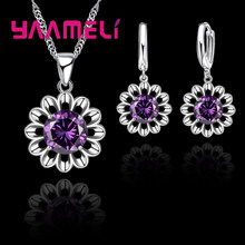 925 Sterling Silver Wedding Jewelry Set For Women Top Quality Crystal Pendant Necklace Hoop Earring Biggest Promotion(China)