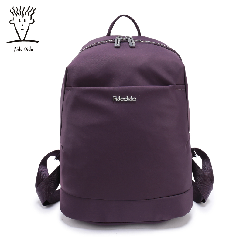 Fido Dido Nylon Waterproof Backpack Women Solid Color Pattern School Backpacks for Girl Bagpack Female Rucksack!! fido