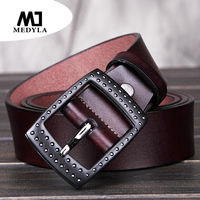 MEDYLA Personerly Buckle Genuine Leather Belt For Man Black Color Male Cow Strap Jeans Belts Cowskin